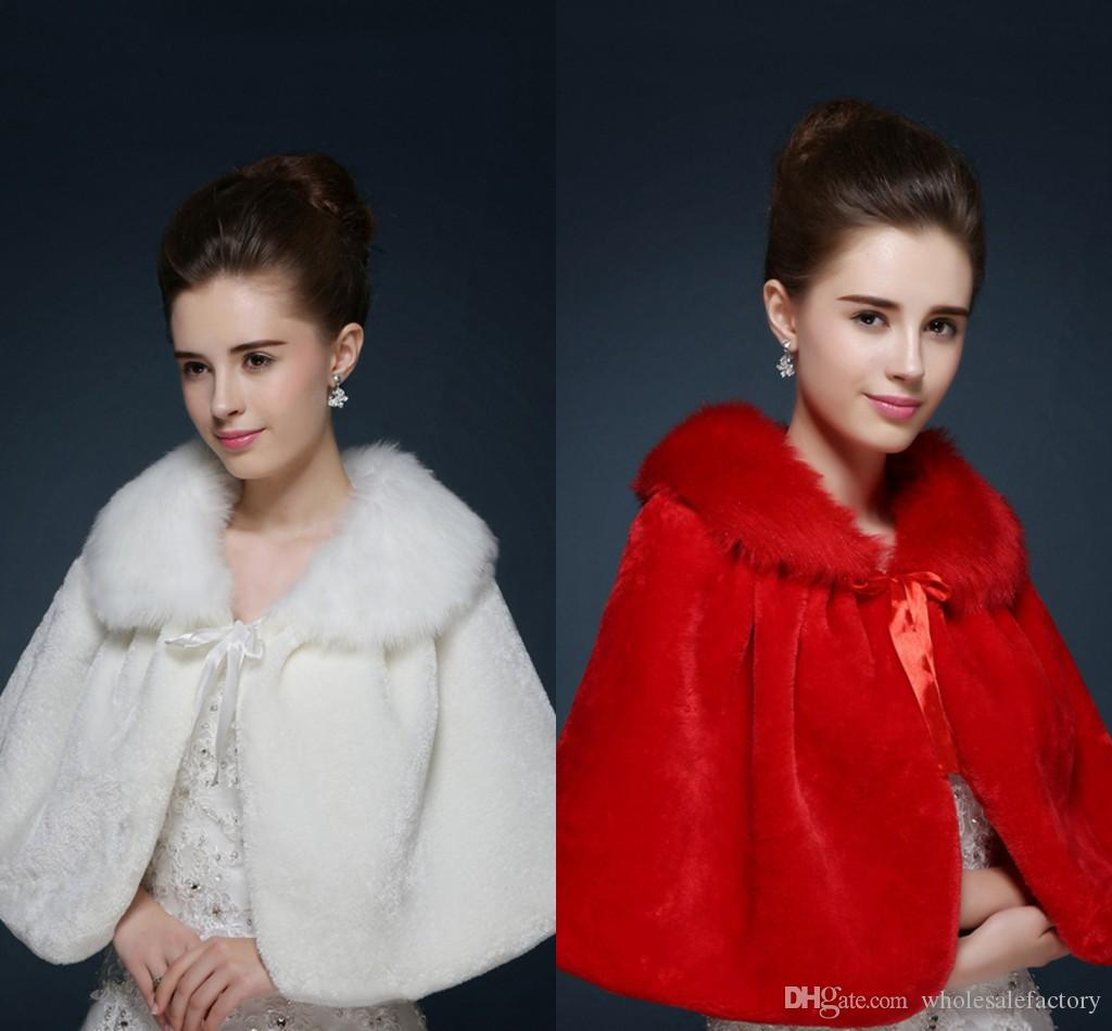 Cheap Faux Fur Wedding Wraps Short Wedding Jackets Stock Ivory Red Warm Shawl Bolero Wedding Accessories 2018 CPA1055