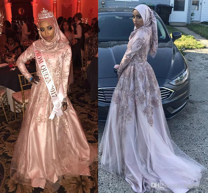 Arabic Prom Dresses Beaded A Line Layered Lace Long Sleeves Sweep Train Evening Party Gowns vestido de festa
