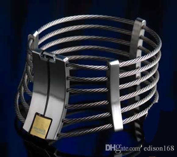 Luxe Roestvrij staal Draad Necklet Hals Ring Metalen Restraint Houding Collar Bondage Lock Adult BDSM Sex Games Toy voor Male Vrouw 603