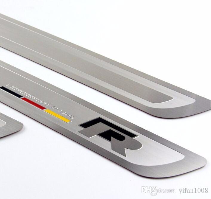 R Estilo delgado de acero inoxidable bienvenido pedal puerta tira para VW Volkswagen Magotan Bora Sagitar CC Golf Accesorios para automóviles