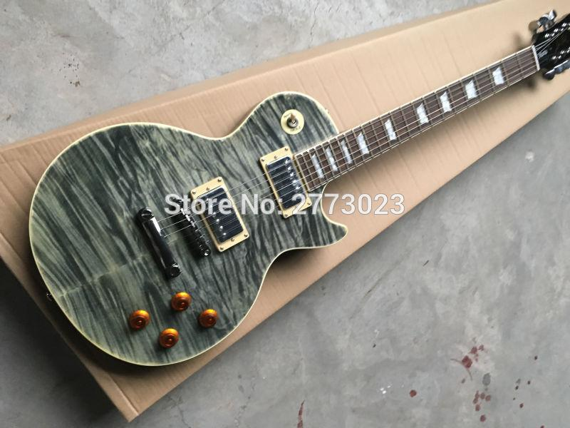 New! Electric guitar with One Piece Body & Neck,Wooden binding, fretboard with Abalone inlay,Quilted Maple,Real photo shows