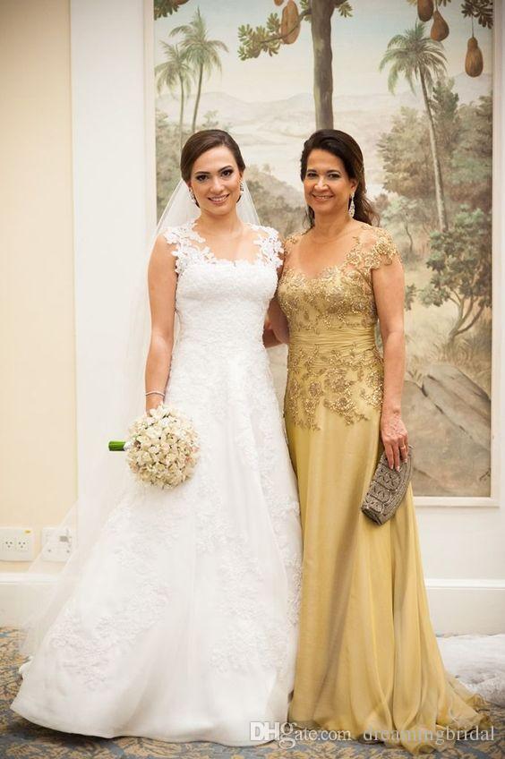 Gold Applique Mutter der Brautkleider 2018 Neue Perlen Sleeveless Juwel Hals A Line Prom Kleider Formal Abendkleid Kleider
