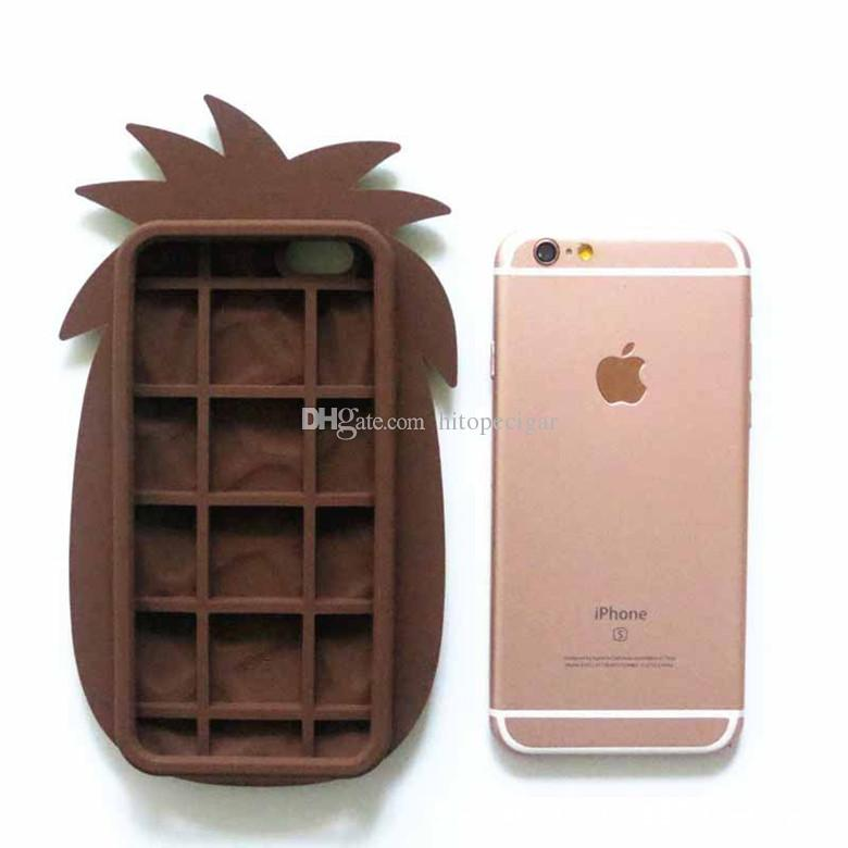 3D Cute Cartoon Fruit Summer Cool Yellow Pineapple Soft Silicone Rubber Cover Case for Iphone 5s 6 6splus 7 7plus