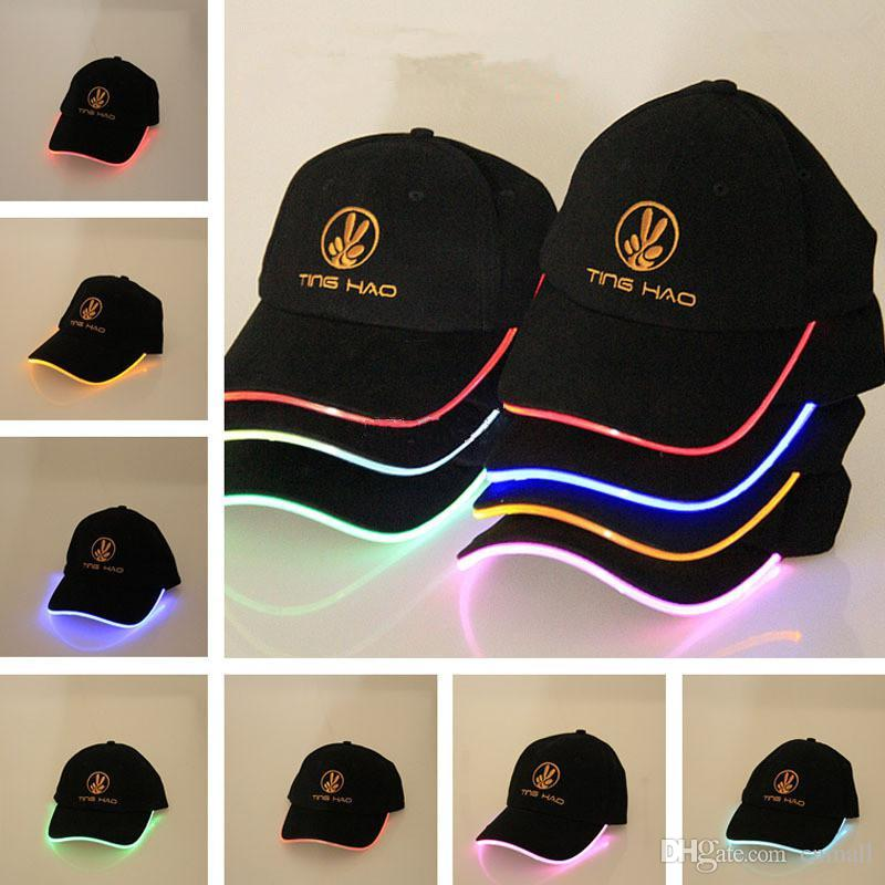 2019 New Design LED Hats Party Flash Hats Boys Grils Ball Caps LED Baseball  Caps Fashion Luminous Different Colors Christmas Valentine S Day Gift From  ... ce043a942bb