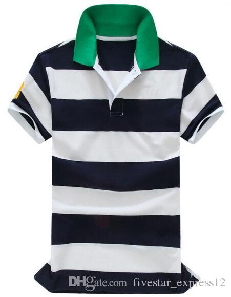Compre Value Buy 2017 Moda Polo Camisa A Rayas De Los Hombres Camisa De  Solapa De Algodón Verano Bordado Ocasional Polos Camisas Gran Caballo Verde  A  24.13 ... ff66a9c6dd2