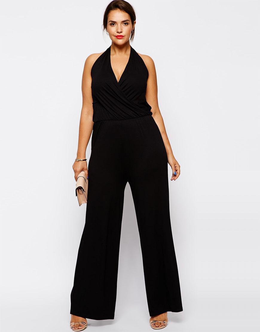 d8000fd3a4bc 2019 Wholesale Plus Size Women Jumpsuits 6XL Sleeveless Women Rompers Black  Halter Jumpsuit Large Big Size Lady Summer Clothing 5XL 4XL Clothes From  Silan