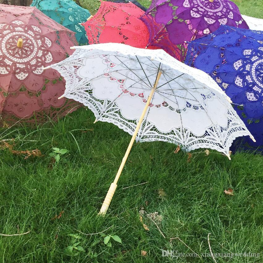Parasol de algodón hecho a mano Battenburg bordado de encaje blanco paraguas elegante boda elegante de alta calidad