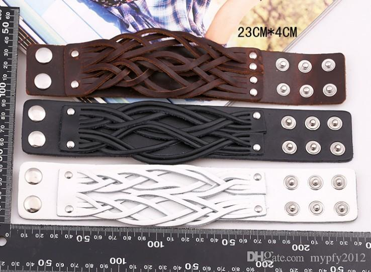 New Punk Jewelry Women Men Vintage Wide Leather Bangles Fashion Adjustable Alloy Buckle Weave Bracelets SH