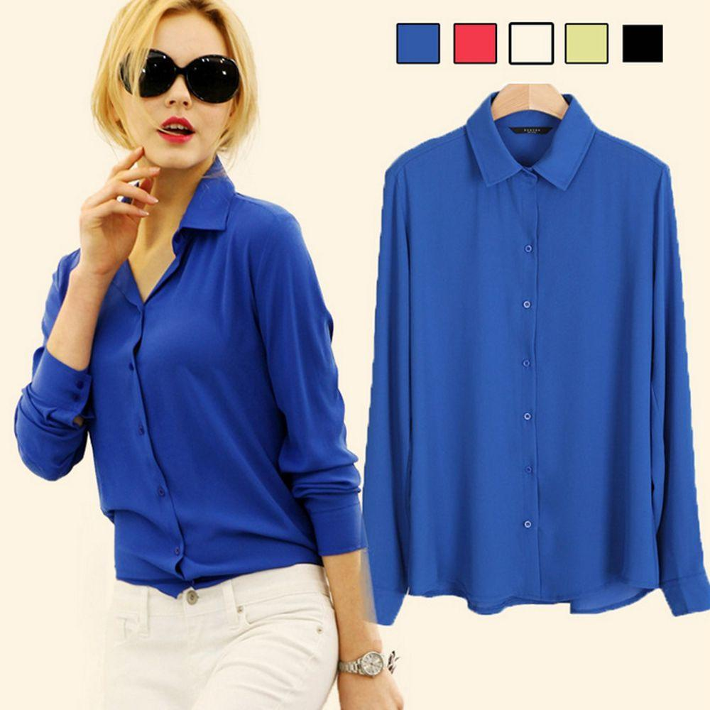9c977e2747b6 2019 NEW FASHION Tops Ladies Shirts Plus Size Elegant Work Shirts Womens  Solid Long Sleeve Chiffon Blouses Turn Down Collar Shirts Casual Blouses  From ...