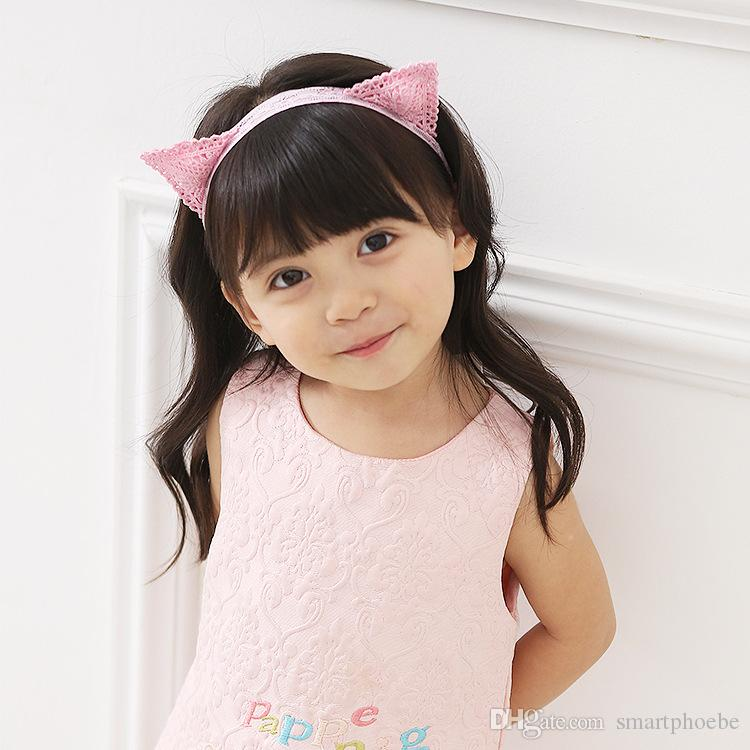 Fashion Cute Pink Corchet 3D Cat Ears Girls Hard Hairbands Solid Kawaii Animal Ears Newborn Soft Lace Headbands Hair Accessories