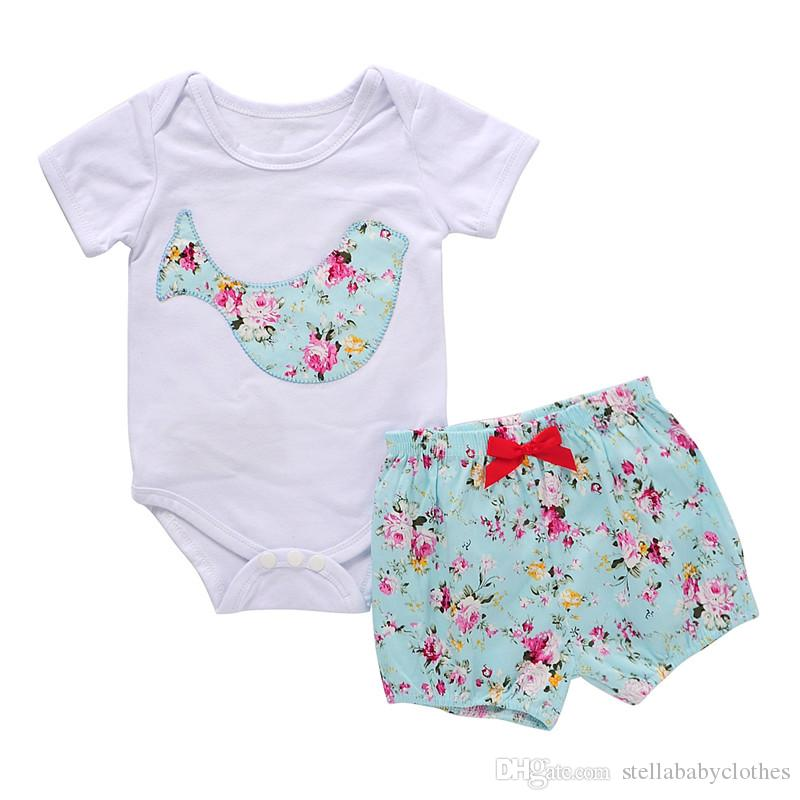 c7ad90458d0a 2019 Hot Sales Summer Short Sleeve Baby Clothing Set Floral Printed ...