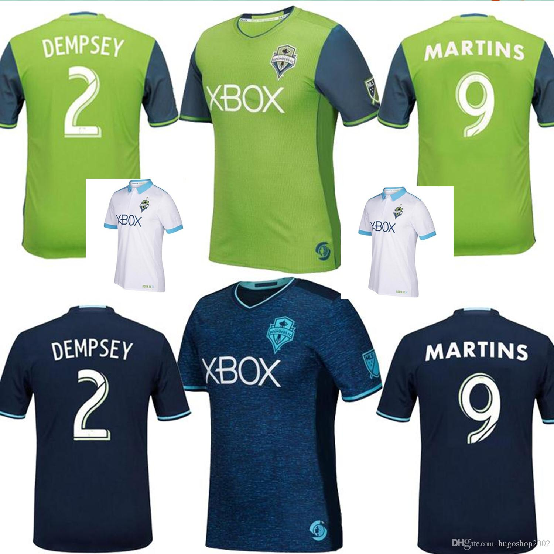 best loved 0e10b b19a2 Whosales USA MEXICO MLS Seattle Sounders Trikot 2016 2017 2018 DEMPSEY  MARTINS home grün weg blau Männer Shirt Seattle Sounder Fußball Trikots