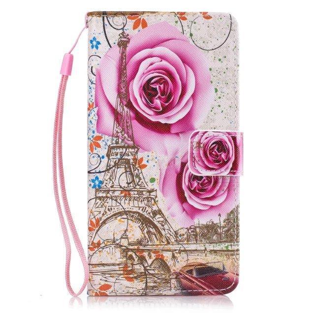 Custodia Samsung Galaxy J7 J5 J3 S6 A310 A7 A3 G360 Huawei II cinturino Y5 Raccoglitore di cuoio del basamento della carta del fiore TPU del fumetto di copertura Denti Phone