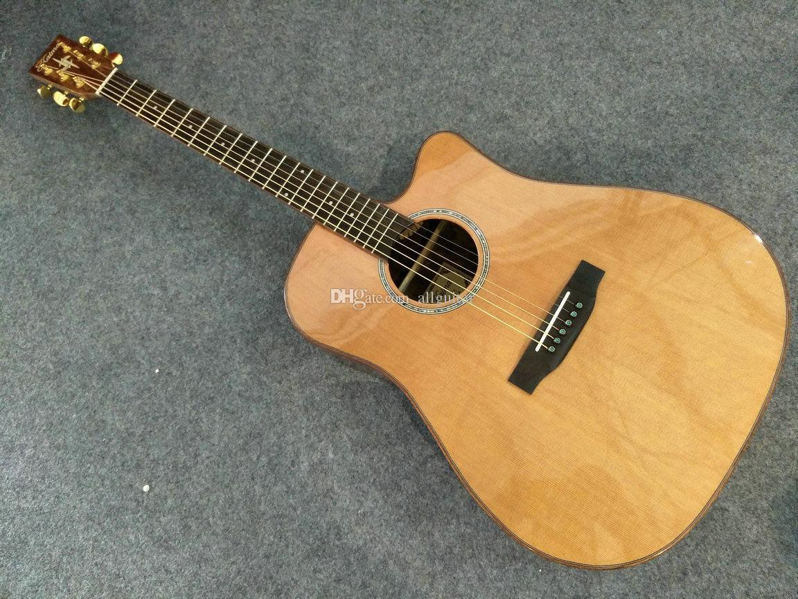 2017 new acoustic guitar aaa solid cedar bocote wood back side 41 inch cutaway guitar glossy. Black Bedroom Furniture Sets. Home Design Ideas
