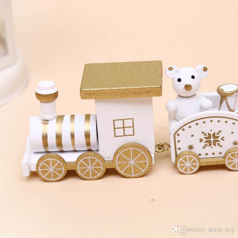 25 cm Bonito De Madeira Modelo de Trem de Natal Decoração de Brinquedo Decoração Presente Onarment Presente de Natal Papai Noel Snowman Brinquedos Para As Crianças