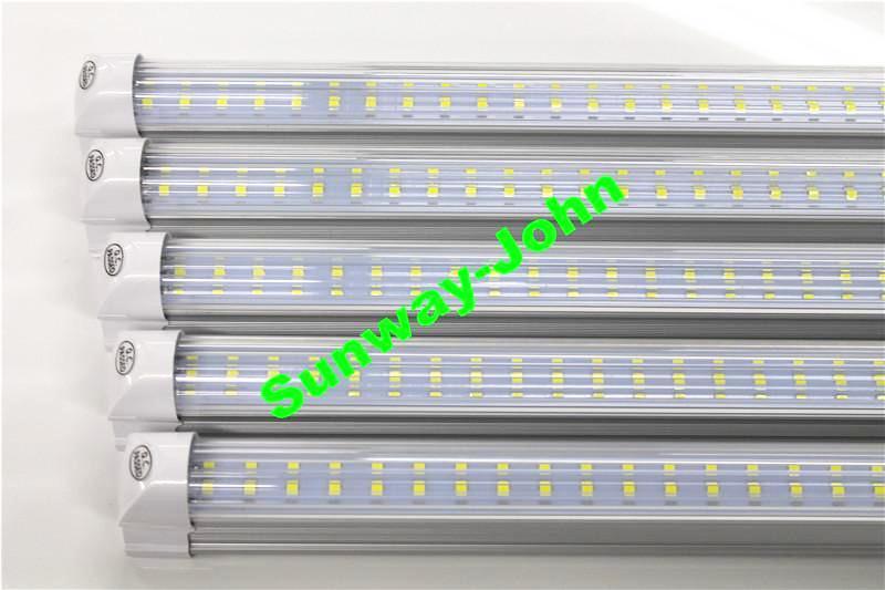 Двухрядные 8-футовые светодиодные фонари T8 со встроенной лампой 72w SMD 2835 Светодиодные лампочки 110lm / w 2,4 м светодиодное освещение люминесцентная лампа