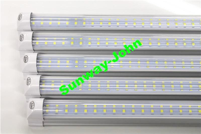 Double Row 8ft LED Lights T8 integrated tube 72w SMD 2835 LED Light Bulbs 110lm/w 2.4m led lighting fluorescent lamp fixture