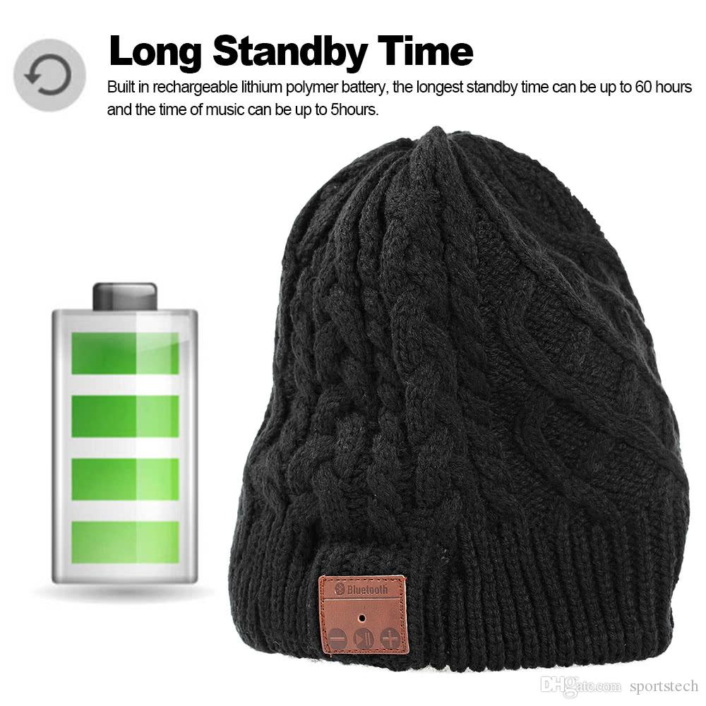 c628823bf63724 Wireless Bluetooth Beanie Headphone Stereo Music Headset Detachable Winter  Hat Twister Knitting Cap Hands Free W/ Microphone For Exercise Sp Mobile  Headsets ...