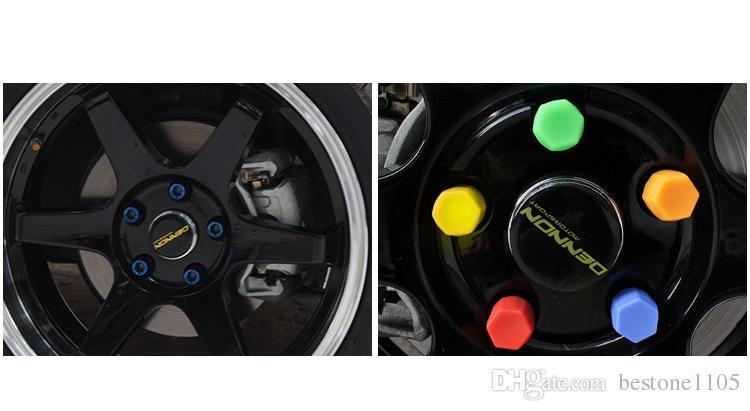 1 conjunto de 19mm Hex Roda Lug Porca Tampas de Proteção Noctilucent Silicone Tampa Do Parafuso Da Roda Fluorescente Rim Parafuso Cap Car Styling Parts