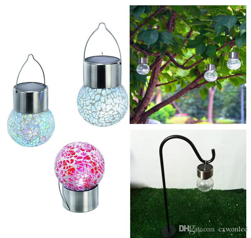 solar battery operated led ball light colour chaning LED Crackle Glass Hanging Lights outdoor for yard holiday decoration