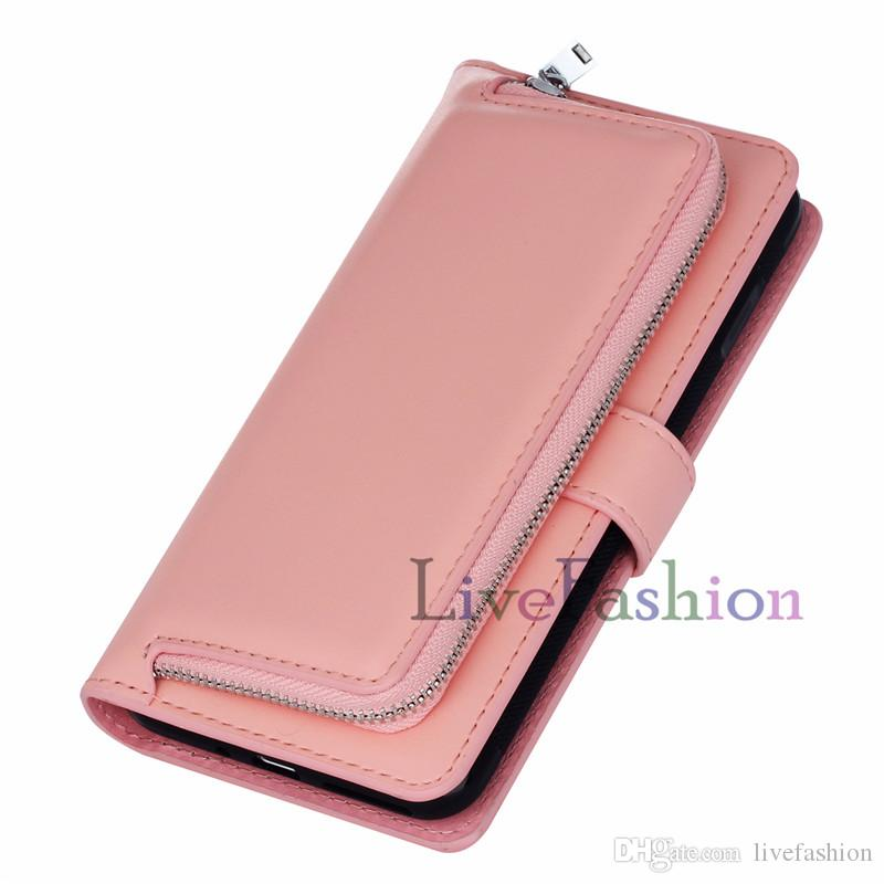 Zipper Leather Cell phone Wallet Case Money Pocket For Samsung s5 s7 edge PU Leather Skin Cover With ID Card Slot For iphone7 plus 6s