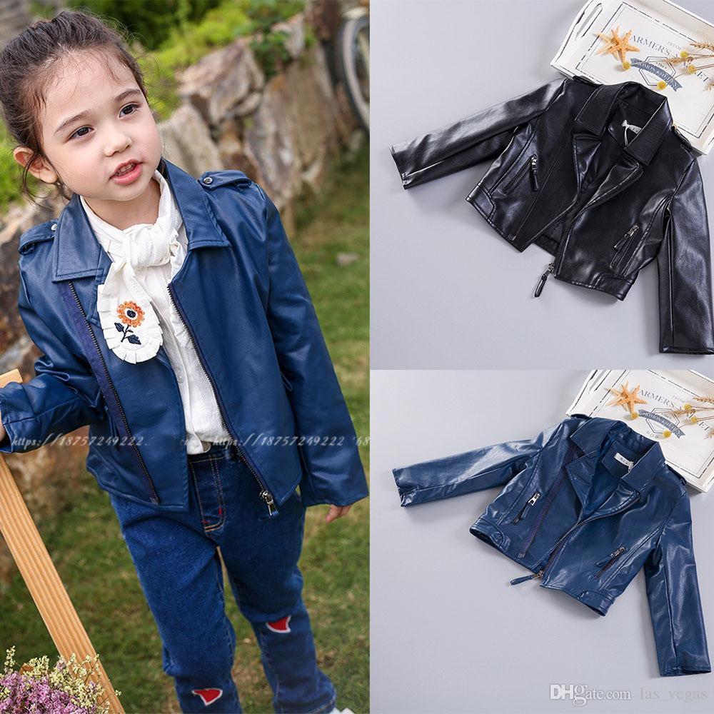 2017 Autumn Children Girls Leather Coat Kids Girls Long Sleeve ...