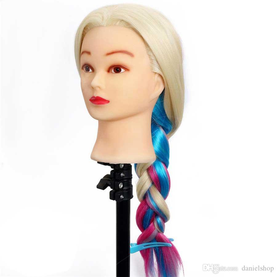 "24"" High Temperature Fiber Long Hair Hairdressing Training Head Model with Clamp Stand Practice Salon Mannequin Head"