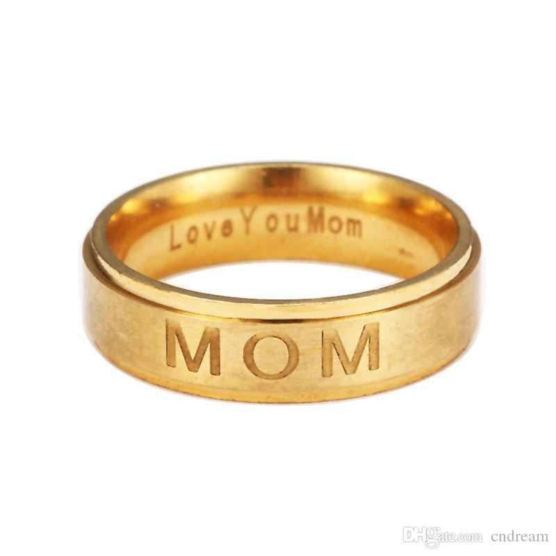 4 Colors Stainless Steel LOVE YOU MOM Ring Carving Letter MOM Rings Bands Mother's Day Gift for Mom Fashion Jewelry Gift Drop Shippng