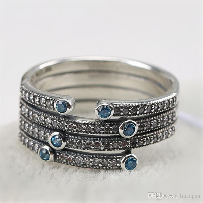 Four Layer Blue Or White CZ Charm Ring Stunning Retro Solid 925 Sterling Silver European Style Jewelry Findings For Pandora