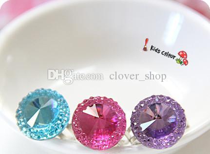 Прекрасные Детские Mixed Смола Бабочка Hearted Gemstone Имитация ювелирные изделия кольца корейских девочек принцессы Дети Детские кольца Подарочные