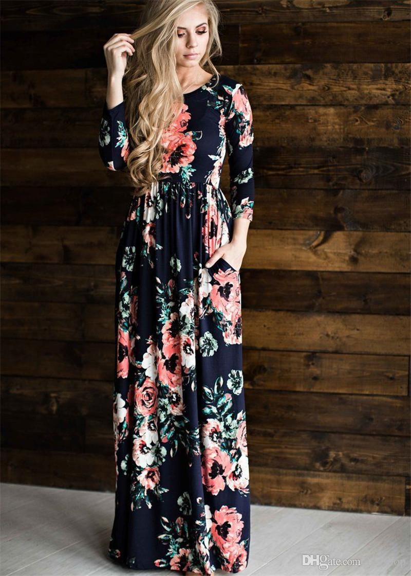 f17013b62a61 Summer Beach Dress Fashion Floral Printed Women Long Dress Three Quarter  Sleeve Loose Maxi Dress Vestidos Junior Cocktail Dresses Gold Party Dresses  From ...