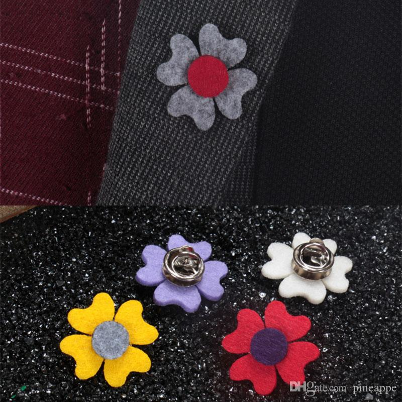 New Fashion Men Brooch Mini Flower Lapel pin suit Boutonniere fabric button Stick butterfly male Brooches Broches for Groomsmen wedding