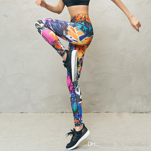 b202a76b8f7 Yoga Pants Printed Women High Waist Fitness Sport Leggings Running ...