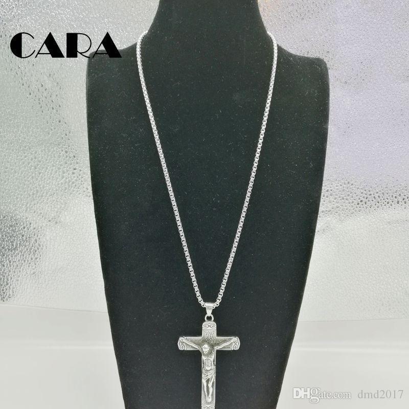 2017 Nouveau Crucifix Croix Jésus Piece Pendentif Collier couleur Argent En Acier Inoxydable hip hop Collier Hommes Chaîne Christian Bijoux CARA0129
