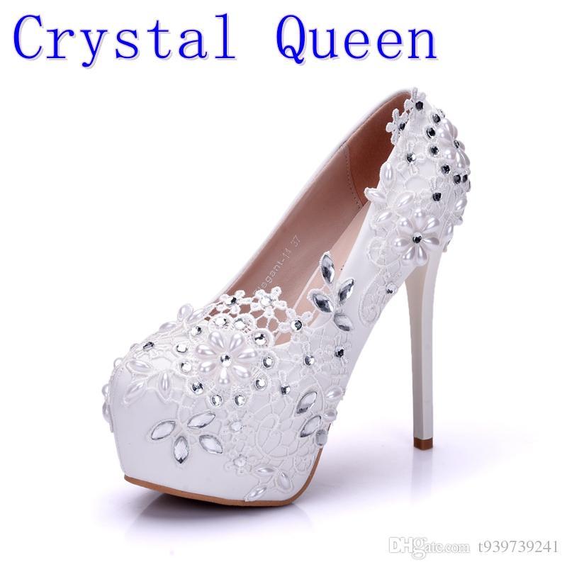 Crystal Queen Fashion Lady White Wedding Shoes Bridesmaid Bridal ... a824e4ed0c46