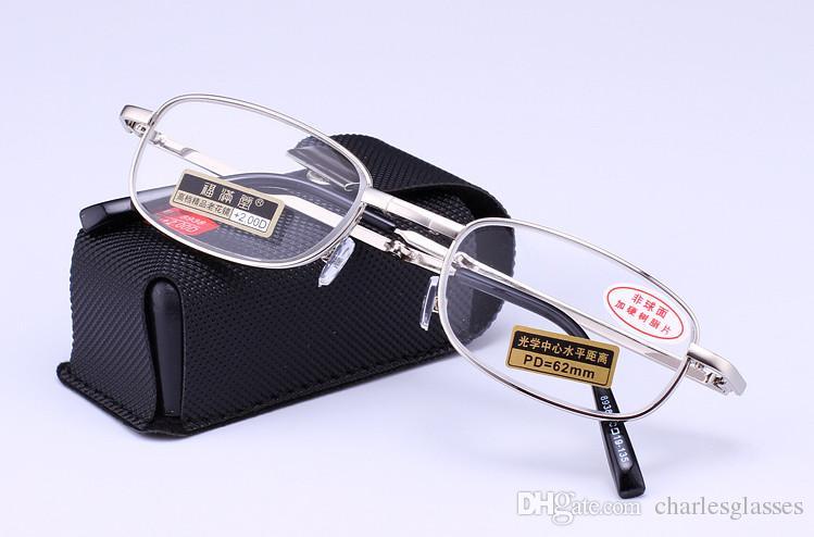 Vendita al dettaglio 1 pz Occhiali da lettura in metallo / occhiali presbiopia in metallo con l'imballaggio della custodia
