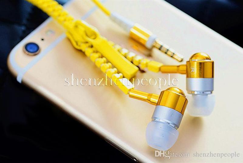 Стерео 3,5 мм Jack Bass Earbuds Наушники-гарнитуры в ухо Металлические с микрофоном и объемные наушники Zip Zipper для мобильного телефона для HTC Nokia