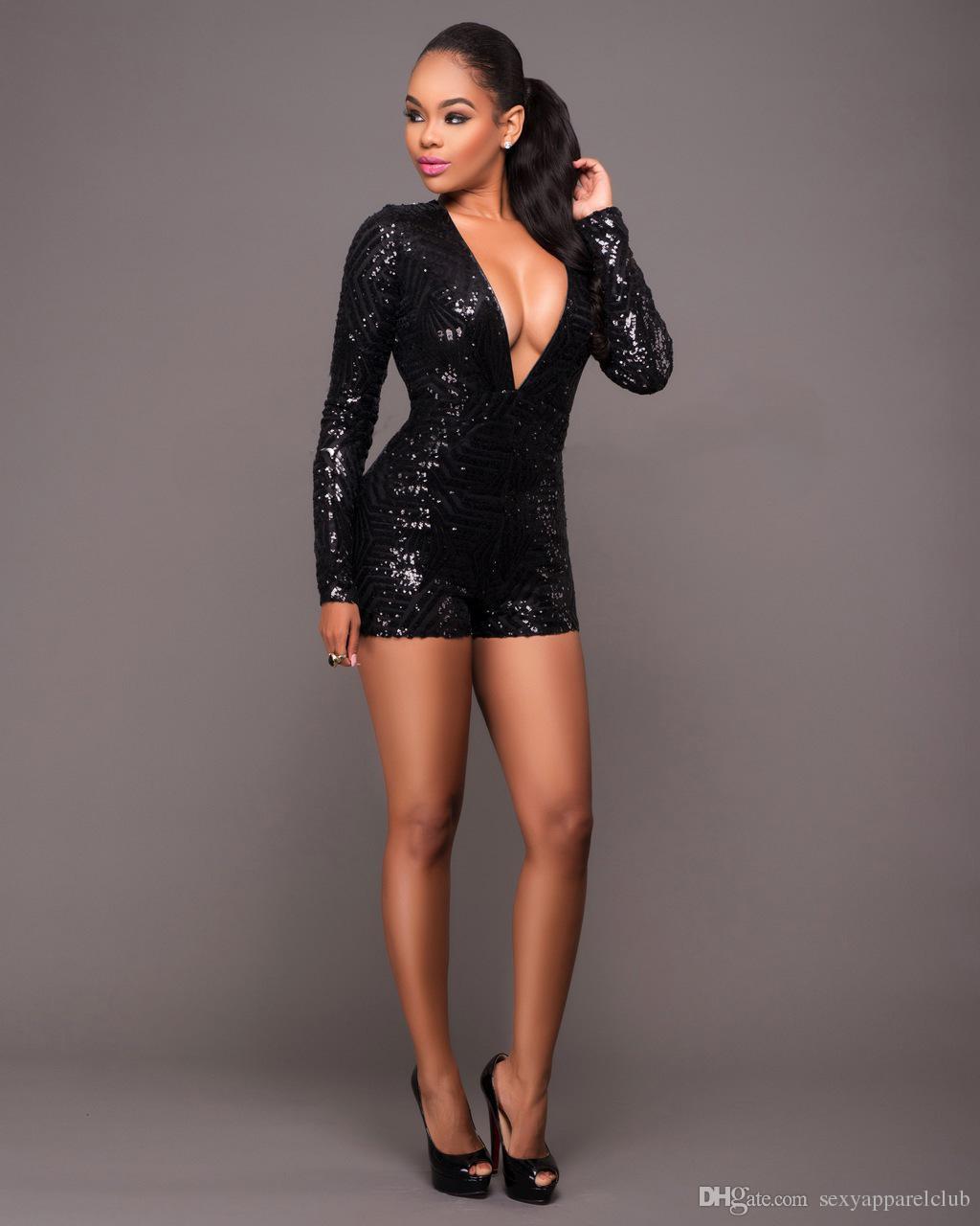 Sexy Elegante Macacão Macacão Mulheres Bodycon Jumpsuit Shorts Lantejoula Casual Catsuit Salto Macacão Beyonce Terno Do Corpo