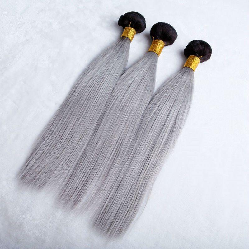 # 1B / Gris Frontal 360 Lace Frontal Closure With Bundles Dark Roots Grey Ombre Indian Virgin Hair Teje con Pre desplumado 360 Lace Frontal