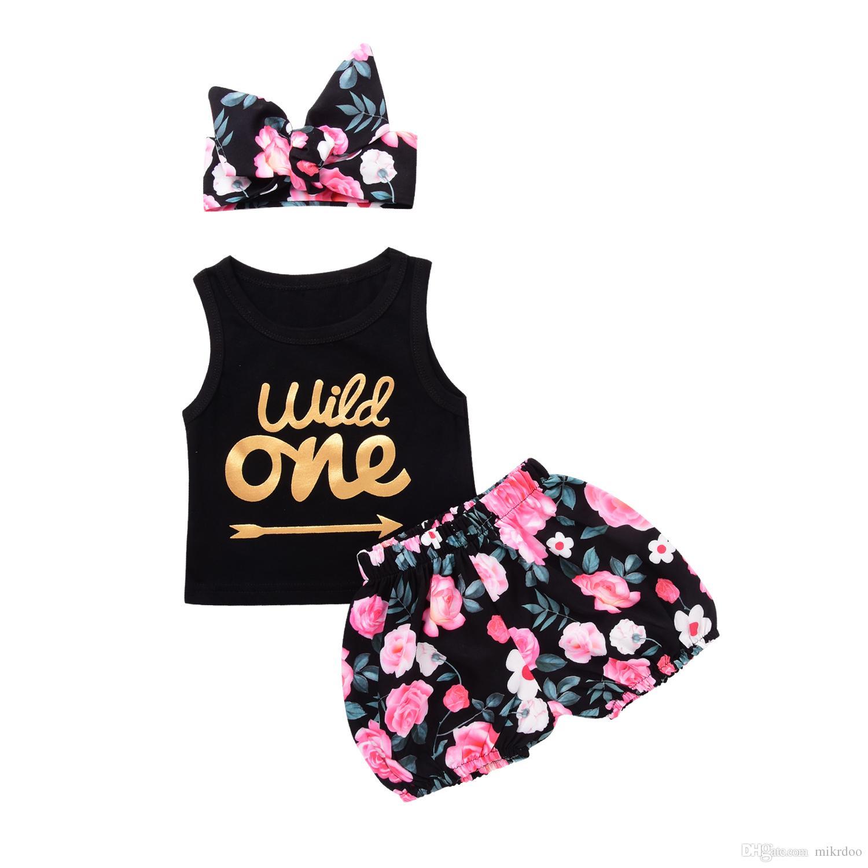 49c73fbfa3a0 Newborn Baby Girl Clothes Suits Summer Black Wild One Arrows Print Tank Top  Flowers Pants Headband Set Mikrdoo Cotton Vest Kids Suit Fashion Suit Summer  ...
