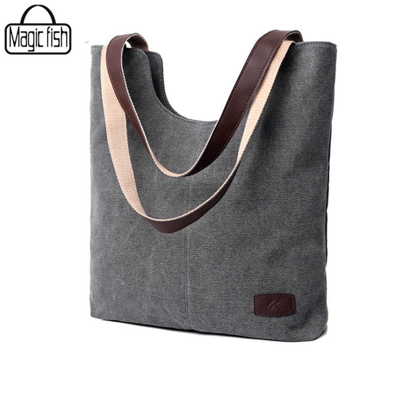 19836ac5b19 Wholesale-Pure Color Canvas Bags Casual Women Shoulder Bag Good ...