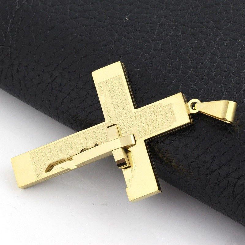 Arbeiten Sie Qualitäts-Männer kühlen silbernes Gold-Edelstahl-Kreuz-Anhänger-freie Kettenhalsketten-Zusätze NNP68 um