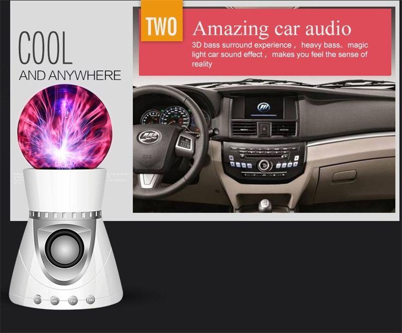 Bluetooth Wireless Speaker Magic Plasma Ball Light Flash Disco Lamp Loudspeaker Sound Box Support TF Card FM Radio USB Disk