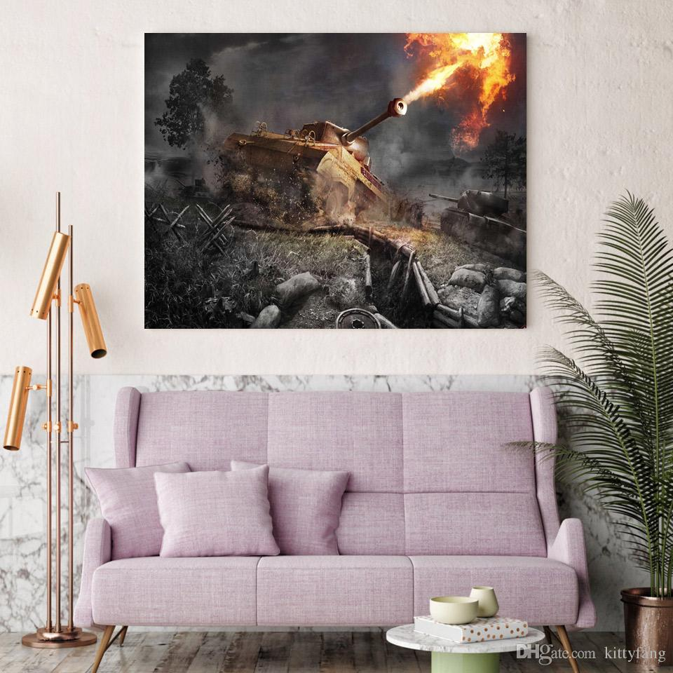 Canvas Art Canvas Painting World of Tanks Game HD Printed Wall Art Home Decor Poster Pictures for Living Room XA1517C