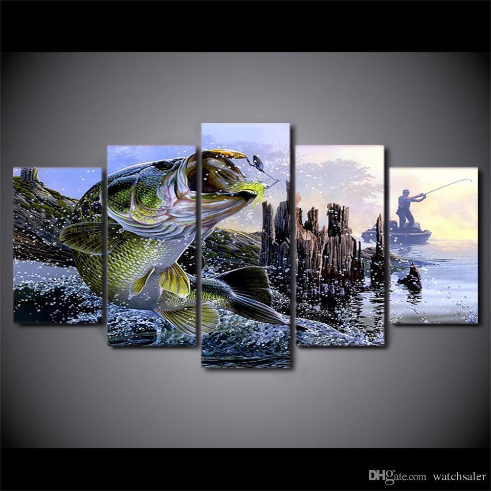 Tuval Resimlerinde Baskılı 5 Parça largemouth bas balıkçılık Duvar Sanatı Oturma Odası Yatak Odası Ev Dekor Için Tuval Resimleri