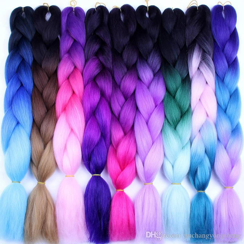 "Pure Color High Temperature Fiber Braiding Synthetic Crochet Jumbo Braids 24"" 100g Rainbow Ombre Tone Color Braiding Hair"
