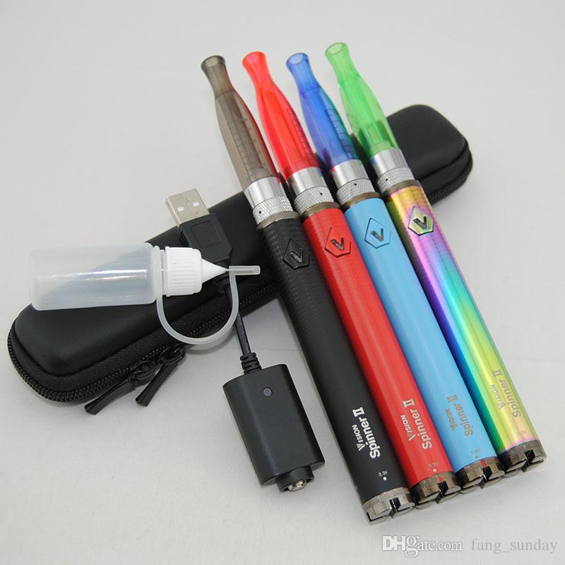 Vape Pen Vision Spin II eGo C Twist H2 Vaporizer Starter Kit 1650mAh EVOD Twist 2 Electronic Cigarette Variable Voltage Mini Zipper Case