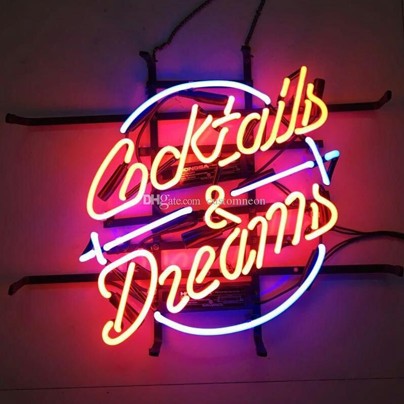 2018 17x14 Cocktails And Dreams Neon Sign Bar Wall Decor Custom Real