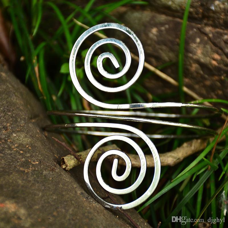 Novo verão moda braço manguito para as mulheres braço do vintage pulseiras anel parafuso bangle indiano jóias personalidade punk braço superior livre do navio