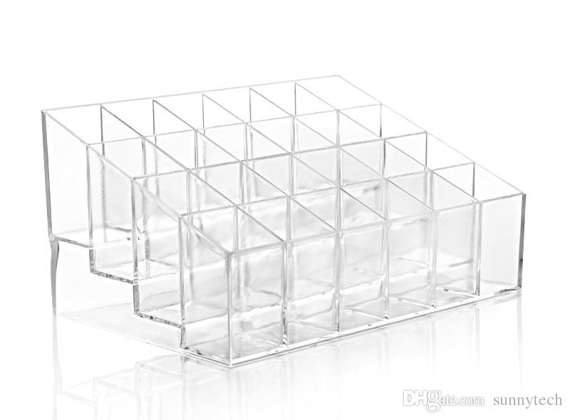 24 Trapezoid Clear Makeup Display Lipstick Stand Case Cosmetic Organizer Case Lipstick Holder Display Stand Clear Acrylic WA1470